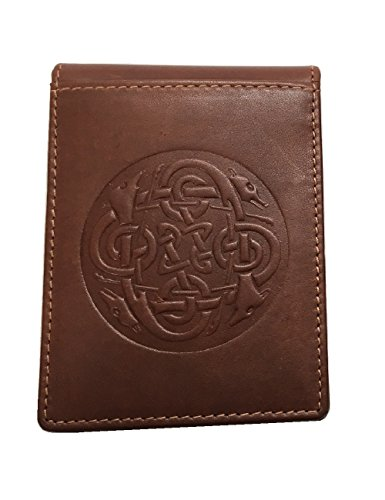 Biddy Murphy Celtic Money Clip & Wallet Eternity Knot Design Leather Brown Made in Ireland
