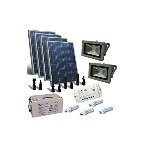Kit Solar de Iluminacion Fluo 400W 12V para Interior y externa Bateria...