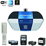 Chamberlain Group Chamberlain B1381 Bright LED Lighting Smartphone-Controlled Ultra-Quiet & Strong Belt Drive Garage Door Opener with Battery Backup & Max Lifting Power, 1.25 hp, Blue