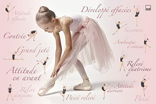 moll Schreibunterlage Kinderschreibtisch Erweiterung, Kunststoff, Ballerina gemischt, 42cm x 59cm x 0,3cm