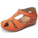 女士坡跟高跟凉鞋/花朵拼接休闲拖鞋/PU橡胶制成/舒适的圆头可调节钩,オレンジ色,37