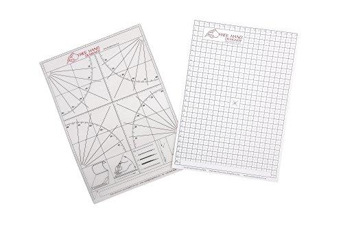 2 x A4 'Freehand Designer' Blatt. 1 x Gitterblatt & 1 x Winkelmesserblatt. Schablone für perfekte gerade Linien. Gitterblatt ermöglicht Maßzeichnungen zu erstellen. Winkelmesserblatt kann auch bei präzisen Kanten eingesetzt werden.