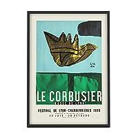 有名なルコルビュジエポスター抽象鳥壁アートパネルクラシック帆布絵画インテリア北欧写真カラフル版画モダンリビング部屋装飾30x40cmいいえフレーム