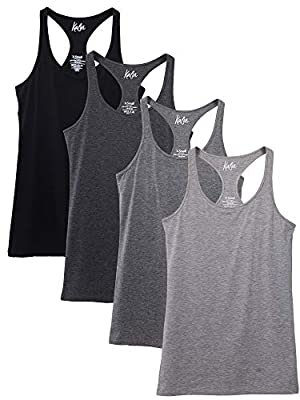 Kalon Women's 4-Pack Racerback Shelf Bra Camisole Base Layer (Small, Black/Greys)