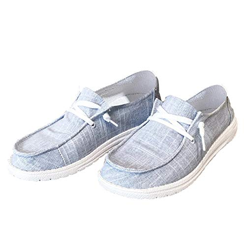 Nailyhome Womens Canvas Loafer Slip On Casual Closed Toe Lace Up Flatform Boat Shoes Light Grey