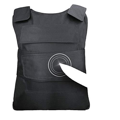 Chaleco de trabajo de seguridad Equipo de protección resistente a la puñalada Ropa Protección del pecho Defensa del cuerpo con armadura de acero de manganeso (Negro)