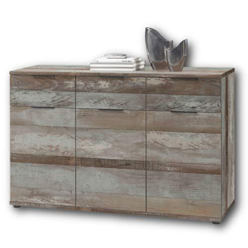 Stella Trading Universal Kommode in Driftwood Optik - Schlichtes Sideboard mit viel Stauraum für Ihren Wohnbereich - 135 x 90 x 40 cm (B/H/T)