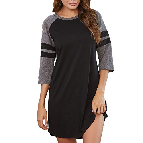 fartey Summer Nightgowns for Women Loose Soft Night Shirts Short Sleeve Sleepwear Comfy Pajama S-XXL
