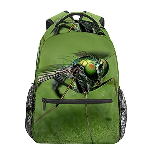 Mochila escolar divertida verde mosca insectos estudiante viaje senderismo camping mochila casual libro bolsas hombro bolsa
