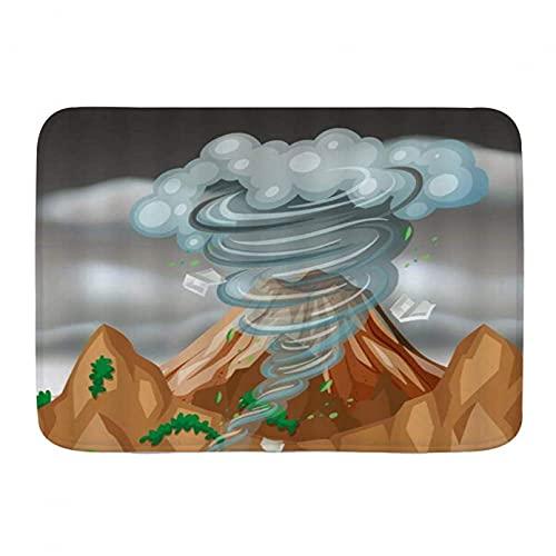 N/A Alfombras para Sala Felpudo Alfombras de baño Alfombra de baño Nube de montaña Amarilla Formas de Dibujos Animados Alfombra de decoración de baño con Respaldo Antideslizante 24'x36'