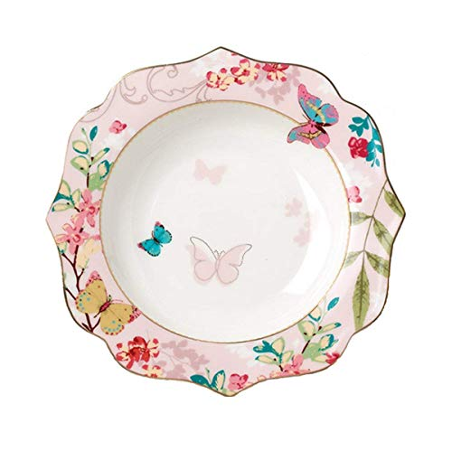 YBK Tech Bone China Dessert Plate/ Salad Plate Ceramic Plate for Breakfast Afternoon Tea- Butterfly Pattern (Pink (7.5inches Salad Plate))