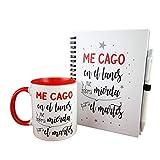 Pack DE LIBRETA Y Taza Frase ME CAGO EN LOS Lunes Y ME SOBRA Mierda para EL Martes Regalo Original