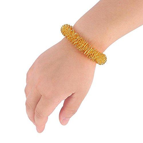 Acupressuur massage ringen, acupunctuur armband pols massage ontspanning geleverd roestvrij staal pols hand massage ring (goud) MEERWEG verpakking