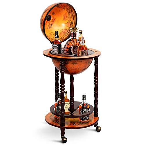 HAPPYGRILL Wine Bar Stand Italian Wooden Globe Wine Rack Liquor Bottle Shelf 16th Century Retro Wine Cupboard with Wheels