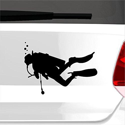 malango® Aufkleber Taucher Diver Schnorcheln Tauchen Wasser Water See Meer Sticker Tauchsport ca. 20 x 14 cm weiß