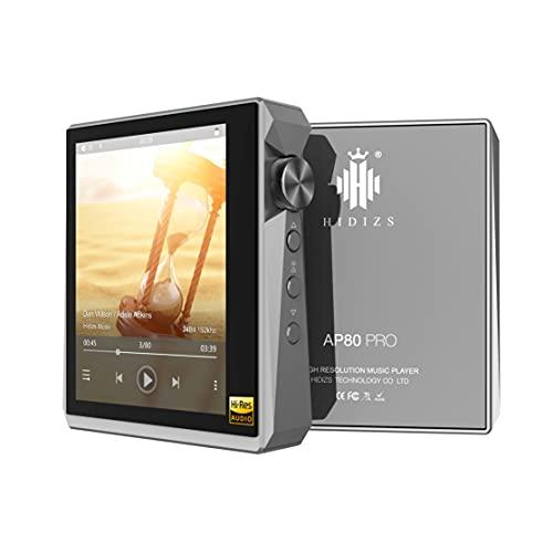 HIDIZS AP80 PRO Hochauflösender Bluetooth-MP3-Player, tragbarer hochauflösender digitaler Audio-Player mit LDAC/aptX/FLAC/DSD, verlustfreier Musik-Player mit vollem Touchscreen (Grau)