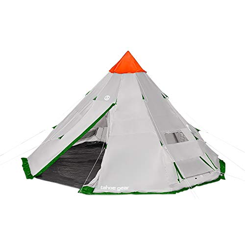 Tahoe Gear Bighorn XL 18' x 18' 12 Person Teepee Cone Shape Camping Tent