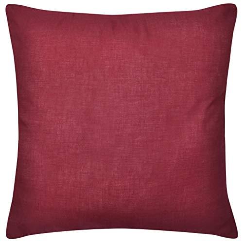Juego de 4 fundas de cojín decorativas cuadradas con cremallera invisible para sofá dormitorio coche 50 x 50 cm 100% algodón burdeos