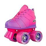 Crazy Skates Rocket Roller Skates for Girls and Boys - Great Beginner Kids Quad Skates - Pink and Purple Patines (Size Jr12)