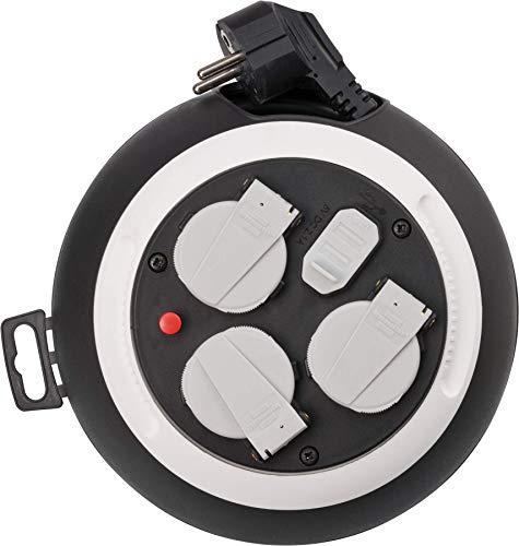 Brennenstuhl Comfort Line Kabelbox 3-fach mit USB / Mini-Kabeltrommel (Indoor-Kabeltrommel für Haushalt mit USB-Ladefunktion, 3m Kabel, Made in Germany) Schwarz/Weiß