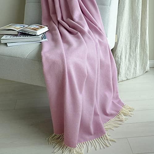 Linen und Cotton Flauschige, Anschmiegsame, Decke Wolldecke Kuscheldecke STONEWOLD (Violett, 140 x 200cm)