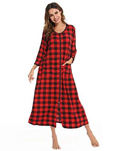 Cotton Robe long Nightgown For Women Plus Size Nightgown House Dress Women's Loose Fit Bathrobe Sleepshirt V Neck Short Sleeve Loungewear Maxi Housecoat