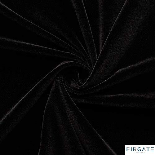 Tela de terciopelo, tejido de felpa suave de lujo, 92% poliéster, 8% elastano (se vende por metros) negro