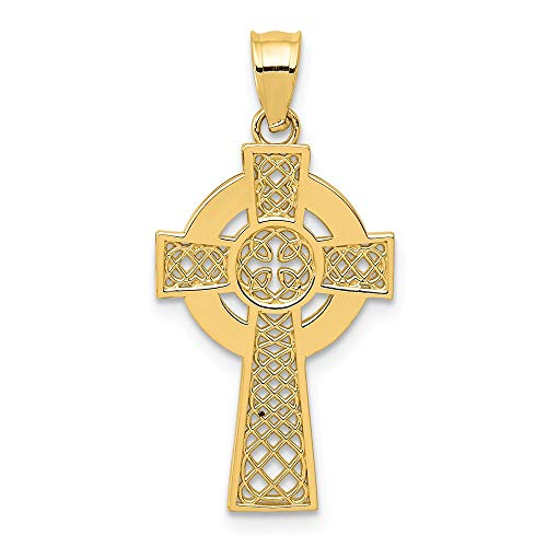 14k Yellow Gold Irish Claddagh Celtic Knot Cross Religious Pendant Charm Necklace Iona Fine Jewelry For Women Gifts For Her