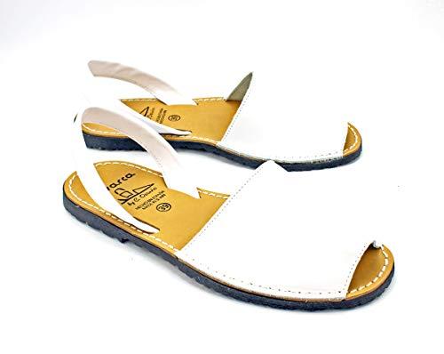Avarcas dames leren sandalen plat Menorquinas wit 35 36 37 38 39 40 41 42