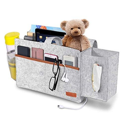 Integrity.1 Sofa-Organizer,Bedside Pocket,Bedside Pocket Organizer,Aufbewahrungstasche am Bett,zur Aufbewahrung persönlicher Gegenstände, Elektronischer Produkte und Verschiedener Snacks (Hellgrau)