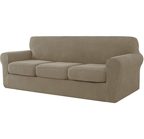 E EBETA Cubiertas de sofá, Funda de sofá 3 Plaza + 3 Fundas de cojín, Tejido Jacquard de poliéster y Elastano, Tunez Funda sofá (Color Arena, 3 Plazas)