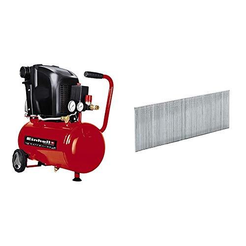 Einhell 4010460 Compresor expert, 1500 W, 230 V, Rojo, 1 + - Set clavos para grapadora de aire a presión DTA 25 (40 mm, 3000 piezas)