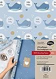 Geschenkpapier-Set zur Geburt für Baby-Jungen: Motiv 'Wal': 4x Einzelbögen + 4x Geschenkanhänger
