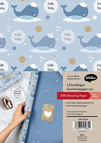 Geschenkpapier-Set zur Geburt für Baby-Jungen: Motiv