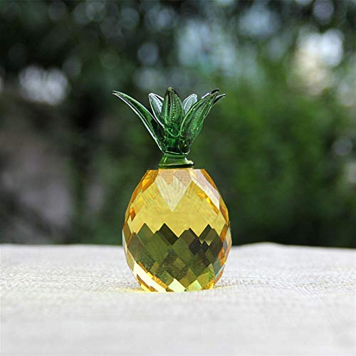 Natural 3/4cm Crystal Pineapple Figurine Glass Fruit Paperweight Home Decoration Ornaments Party Birthday Miniature Decorations (Color : Light Yellow, Size : 40mm)