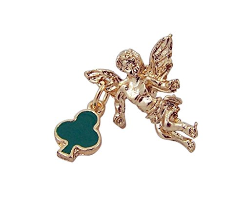 Gold Toned Angel with Green Enamel Shamrock Charm Lapel Pin, 1/2 Inch