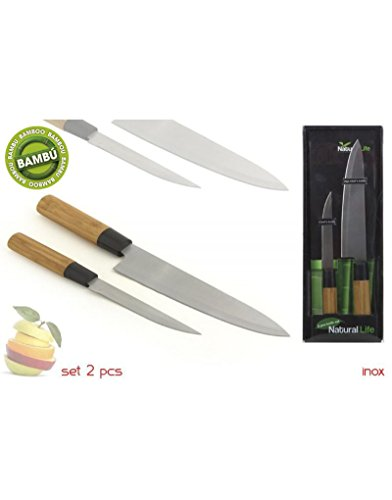 Home Line universeel mes van roestvrij staal met bamboe handvat, set van 2