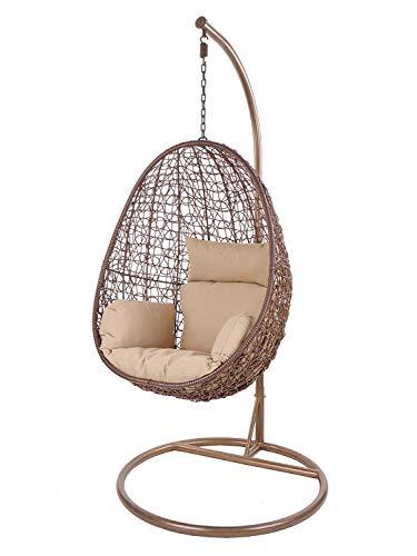 Kideo Swing Chair intérieur & extérieur, Chaise Longue Polyrattan, Chaise Suspendue, Chaise Suspendue avec Cadre et Coussins (Marron/Beige)