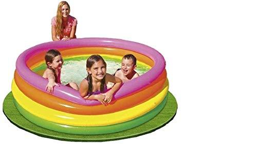 Aufblabarer Babypool Planschbecken Pool Schwimmbad Schwimmbecken Kinderpool Becken 4 Ring Rund Groß für Baby Kleinkinder Kinder Balkon Garten Terrasse Bunt mit Wasserspielzeug