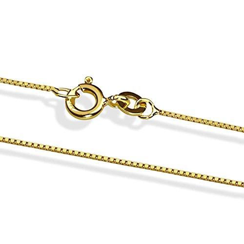 14 Karat / 585 Gold Italienisch Venezianer Box Kette Gelbgold Unisex - Breite 1 mm - verschiedene Längen (45)