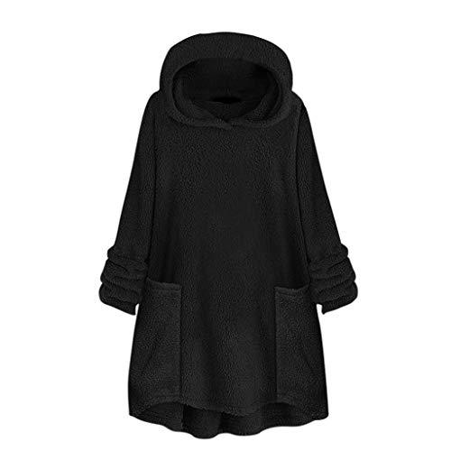 Buy Women's Plus Size Hoodies Solid Long Sleeve Buttons Fleece Sweatshirt Loose Cardigan Coat Wool O...