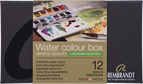 Rembrandt Water Colour Box Landscape Selection - Caja de acuarela extrafina (caja de metal con 12 recipientes optimizados para paisajes, incluye pincel)