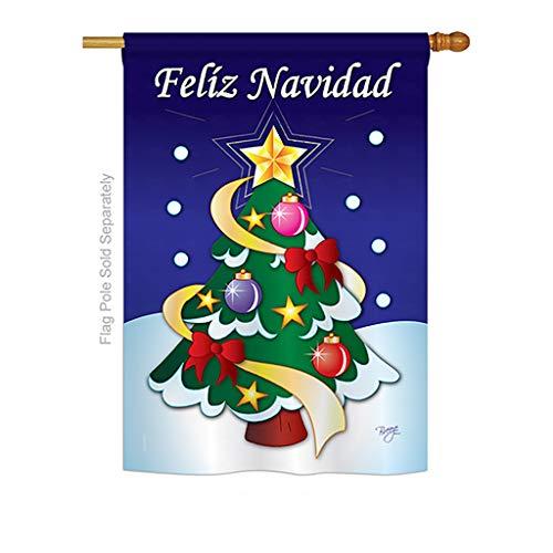 Breeze Decor H114071S-P3 Felíz Navidad Winter Christmas Impressions Decorative Vertical 28' x 40' House Flag Printed in USA
