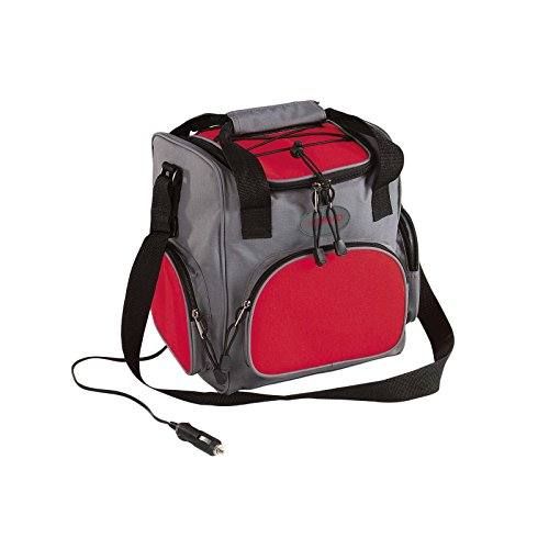 Elektrische Kühltasche mit 12 Volt-Anschluss Picknick Rucksack fürs Auto (Kühlbox 16 Liter, Isoliertasche, Grau-Rot, Picknick-Tasche)