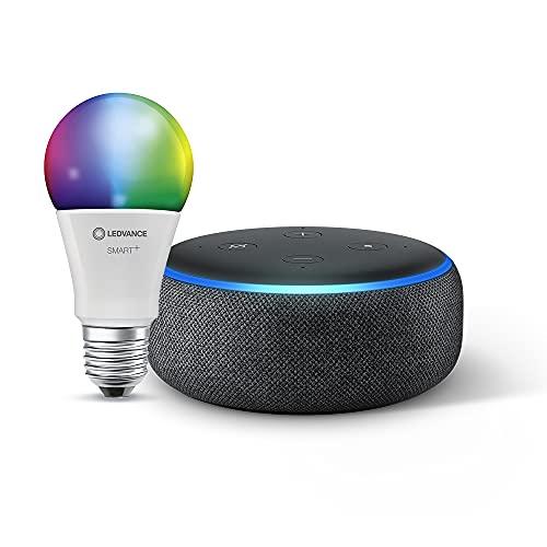 Echo Dot (3.ª generación), Tela de color antracita + Ledvance Bombilla Inteligente (E27), compatible con Alexa