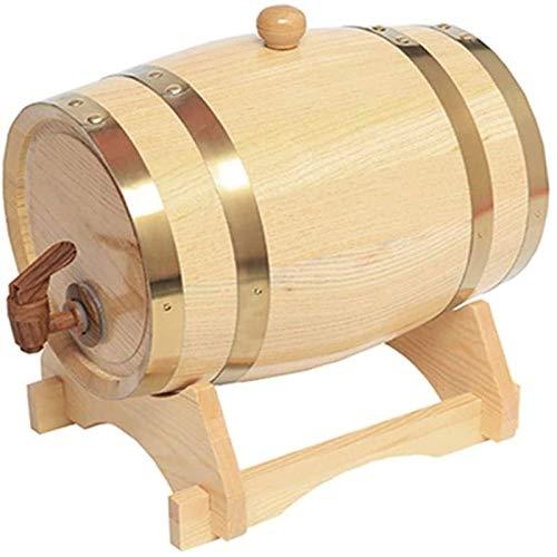 YAOSHUYANG Barril de Madera, Barril de Vino de Roble, dispensador de Cubos de Whisky, Almacenamiento o elaboración de Alcohol del Vino Tinto Cerveza 1.5L / 3L / 5L / 10L (con Grifo) (Size : 3L)
