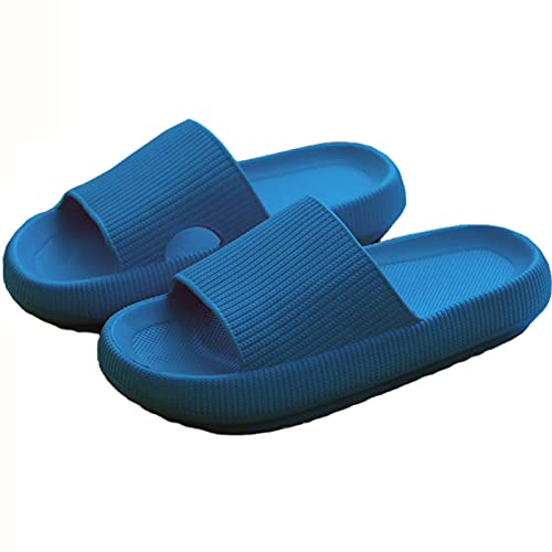 QAZW Sandalias De Ducha Unisex con Pantuflas De Absorción De Impactos De Fondo Grueso Toboganes De Piscina De Playa, Zapatillas De Exterior Estilo Punta Abierta para Hombres y Mujeres,Blue-36/37