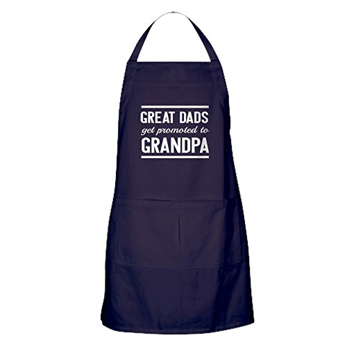 CafePress Great Dads Get Promoted To Grandpa Kitchen Apron with Pockets, Grilling Apron, Baking Apron