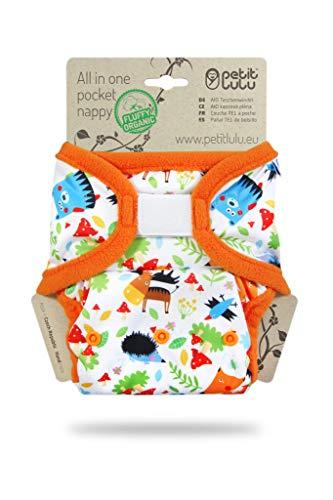 Petit Lulu AIO Windelhöschen   Klett   All In One Windel   AIO Pocket Nappy   Bambus & Biobaumwolle Einlagen   Stoffwindeln (Waldmärchen)