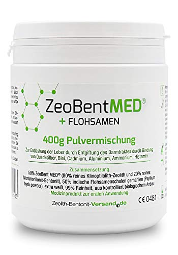 ZeoBent MED® + Flohsamen 400g Pulvermischung, zugelassenes Medizinprodukt mit CE Kennung